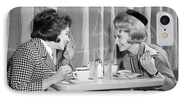 Knit Hat iPhone 8 Case - 1960s Two Women Gossiping At Lunch by Vintage Images