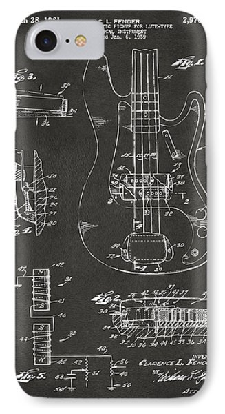 1961 Fender Guitar Patent Artwork - Gray IPhone Case
