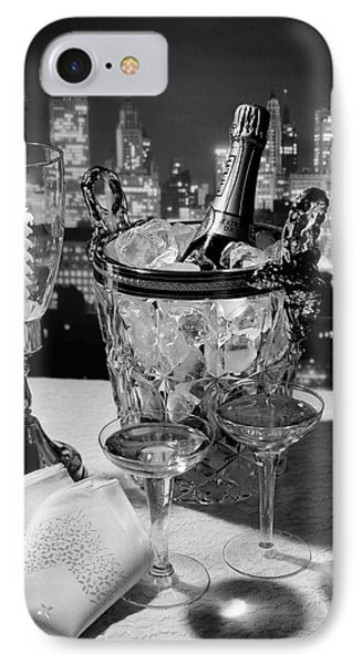 1970s Champagne Bottle In Ice Bucket IPhone Case