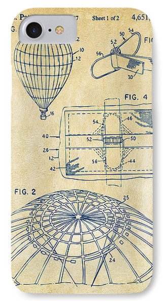 1987 Hot Air Balloon Patent Artwork - Vintage IPhone Case
