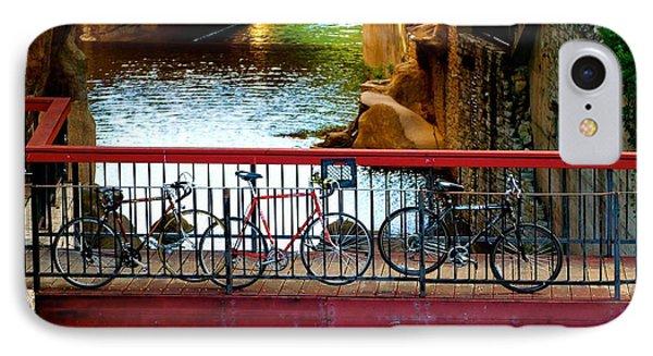 Bikes Over Waller Creek In Austin IPhone Case