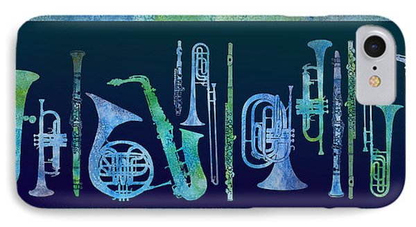 Trombone iPhone 8 Case - Cool Blue Band by Jenny Armitage