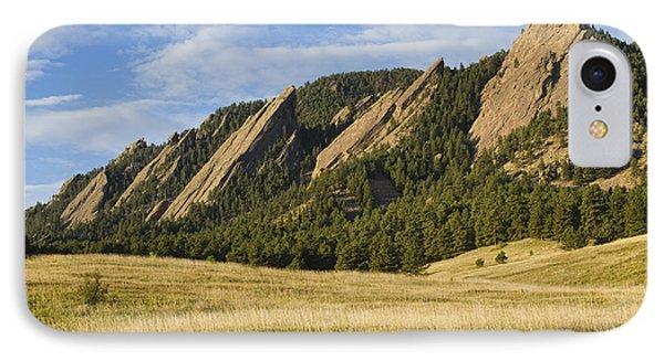 Flatirons With Golden Grass Boulder Colorado IPhone Case