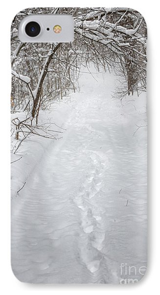 Snowy Winter Path In Forest IPhone Case