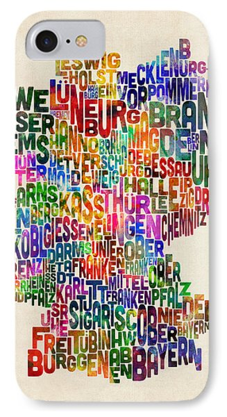 Text Map Of Germany Map IPhone Case
