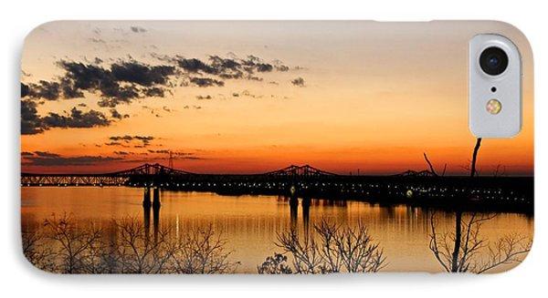 The Mississippi River Bridge At Natchez At Sunset.  IPhone Case