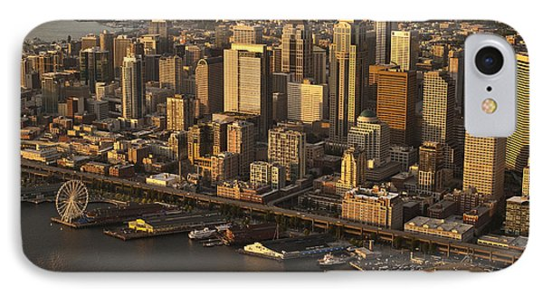 Aerial View Of Seattle Skyline Along Waterfront IPhone Case