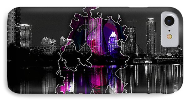 Austin Map And Skyline Watercolor IPhone Case