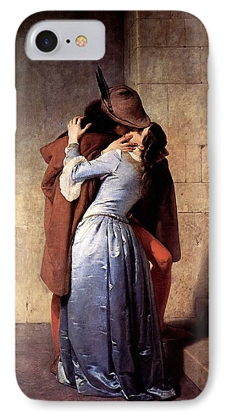 IPhone Case featuring the digital art The Kiss by Francesco Hayez