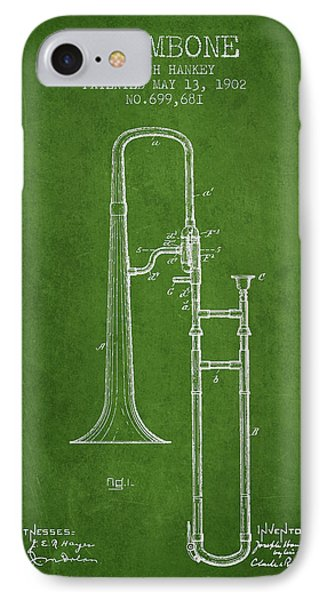 Trombone iPhone 8 Case - Trombone Patent From 1902 - Green by Aged Pixel