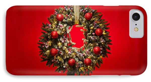 Advent Wreath Over Red Background IPhone Case