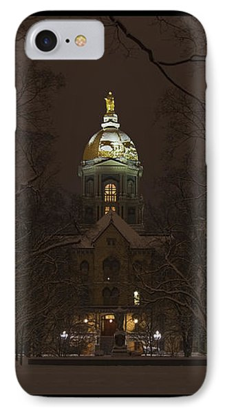 Notre Dame Golden Dome Snow Poster IPhone Case