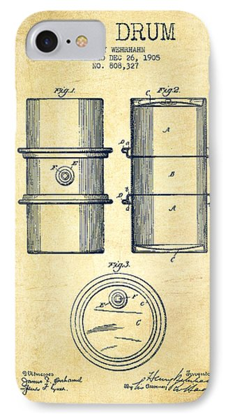 Drum iPhone 8 Case - Oil Drum Patent Drawing From 1905 by Aged Pixel