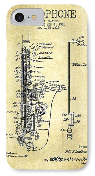 Saxophone iPhone 8 Case - Saxophone Patent Drawing From 1928 by Aged Pixel