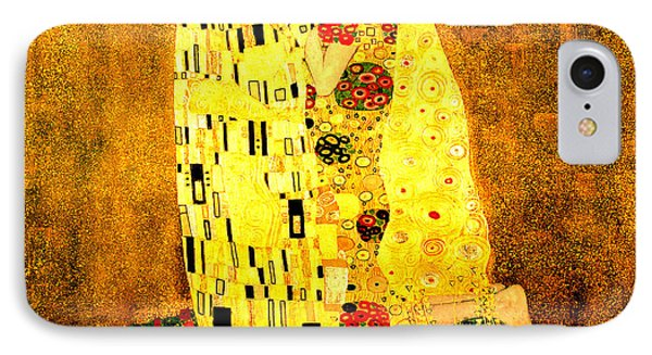 IPhone Case featuring the digital art The Kiss by Gustav Klimt