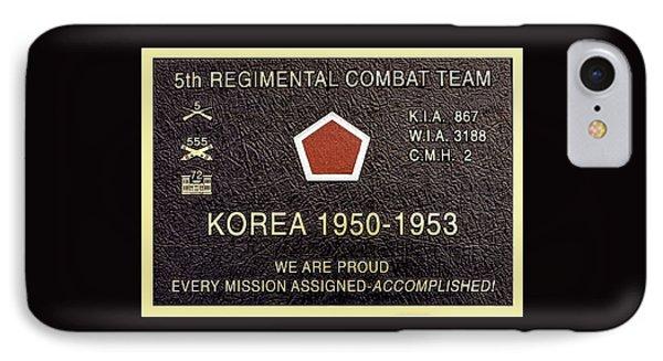 5th Regimental Combat Team Arlington Cemetary Memorial IPhone Case