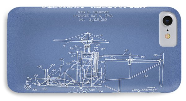 Helicopter iPhone 8 Case - Sikorsky Helicopter Patent Drawing From 1943 by Aged Pixel