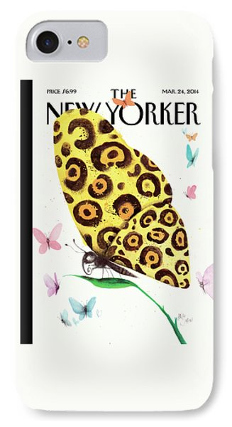 A Butterfly With A Cheetah Pattern Rests IPhone Case