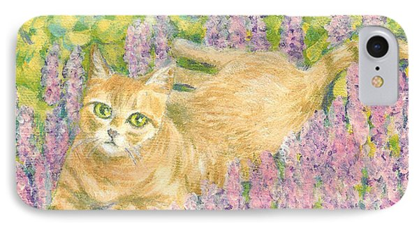 A Cat Lying On Floral Mat IPhone Case