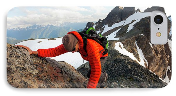 Knit Hat iPhone 8 Case - A Climber Scrambles Up A Rocky Mountain by Christopher Kimmel