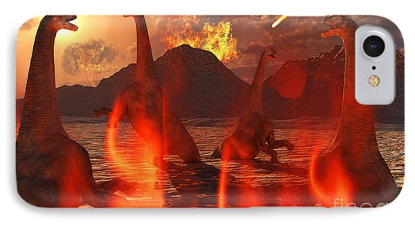 A Herd Of Dinosaurs Struggle IPhone Case