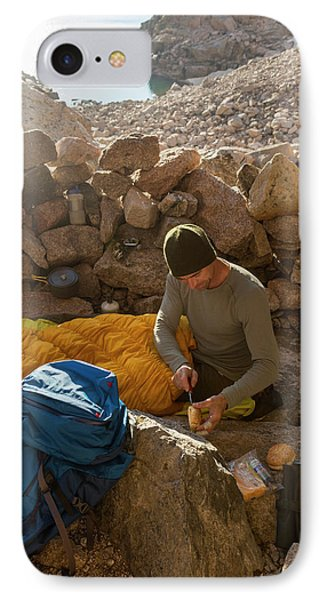 Knit Hat iPhone 8 Case - A Male Mountain Climber Getting Ready by Kennan Harvey