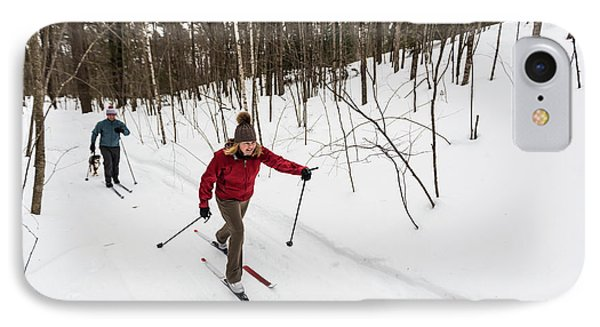 Knit Hat iPhone 8 Case - A Man And Woman Cross Country Skiing by Jerry Monkman
