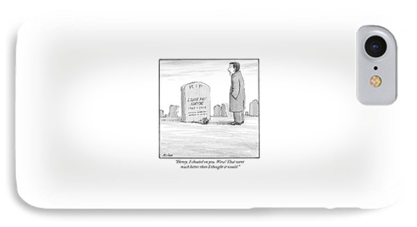 A Man Stands In Front Of A Woman's Tombstone IPhone Case