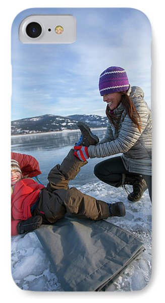 Knit Hat iPhone 8 Case - A Mom Helping A Little Boy Get Ready by Woods Wheatcroft