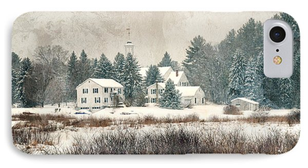 A New England Village In Winter- Antique - Textured IPhone Case