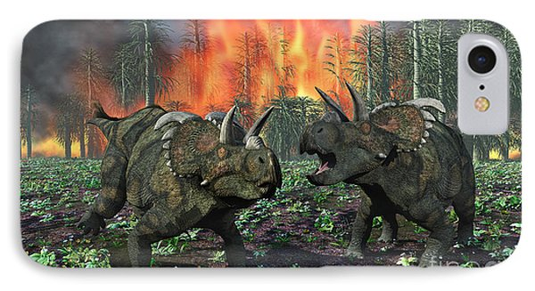 A Pair Of Albertaceratops Running Away IPhone Case