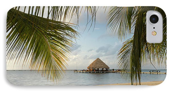 Belize iPhone 8 Case - A Palapa And Sandy Beach, Placencia by William Sutton