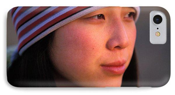 Knit Hat iPhone 8 Case - A Portrait  Headshot Of An Active Woman by Corey Rich