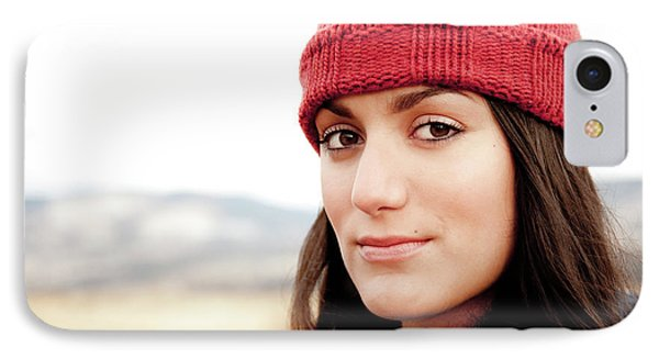 Knit Hat iPhone 8 Case - A Portrait Of A Young Woman While by Jordan Siemens