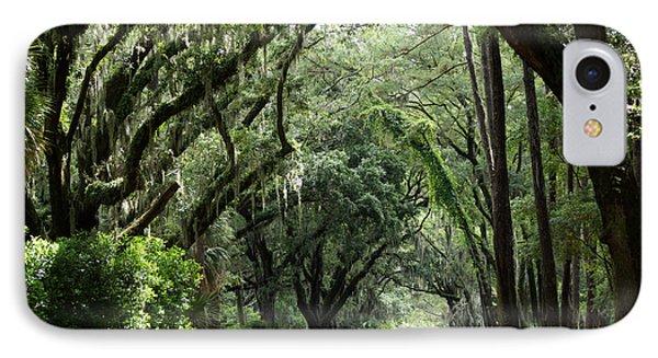 A Pretty Tree Covered Road Somewhere On Hilton Head Island IPhone Case