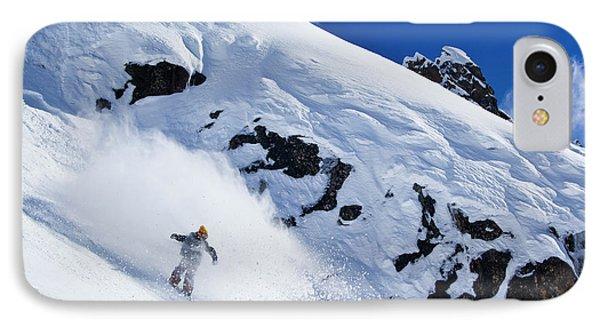 Knit Hat iPhone 8 Case - A Snowboarder Slashes Powder Snow by Ben Girardi