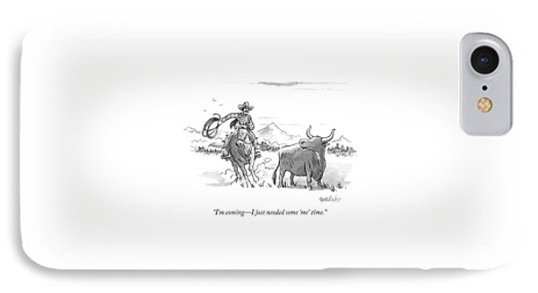 A Stray Cow / Steer Talks To An Approaching IPhone Case
