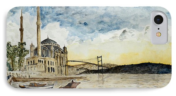 A View Of The Bosphorous Bridge From The Docks Of The Ortakoy Mosque IPhone Case