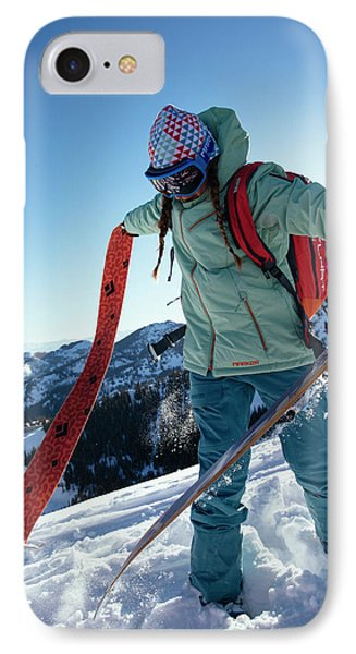 Knit Hat iPhone 8 Case - A Woman Backcountry Skiing by Mike Schirf