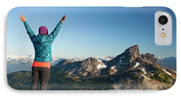 Knit Hat iPhone 8 Case - A Young Woman Celebrates After Reaching by Christopher Kimmel