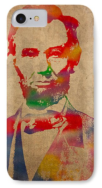 Portraits iPhone 8 Case - Abraham Lincoln Watercolor Portrait On Worn Distressed Canvas by Design Turnpike