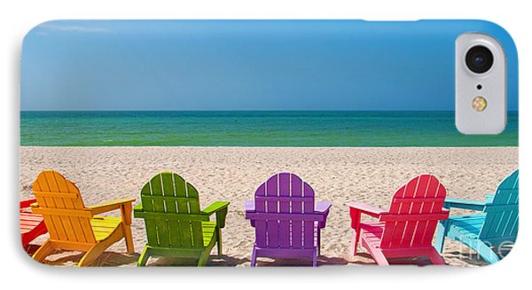 Adirondack Beach Chairs For A Summer Vacation In The Shell Sand  IPhone Case