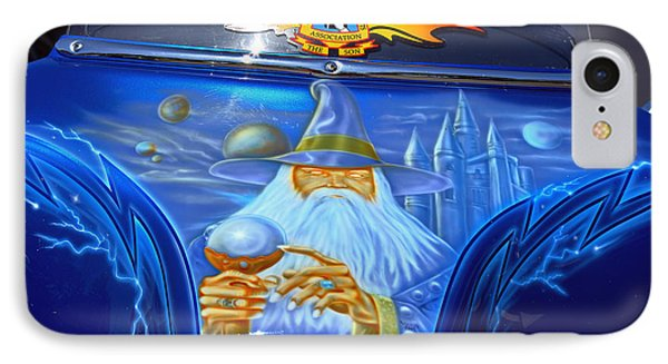 Airbrush Magic - Wizard Merlin On A Motorcycle IPhone Case