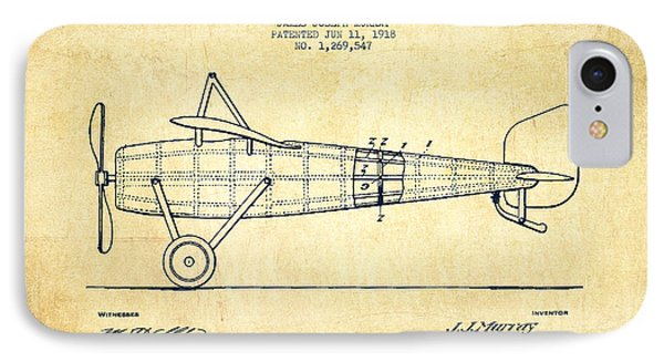 Airplane iPhone 8 Case - Airplane Patent Drawing From 1918 - Vintage by Aged Pixel