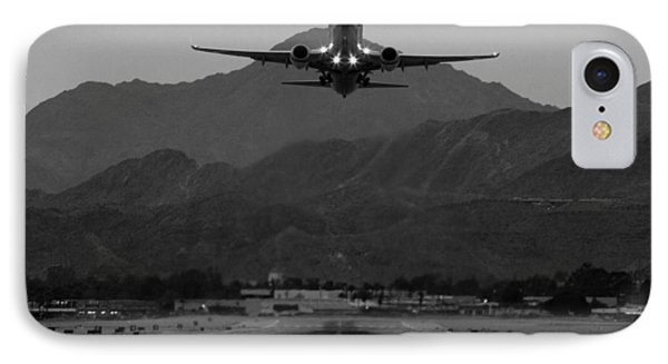 Airplane iPhone 8 Case - Alaska Airlines Palm Springs Takeoff by John Daly