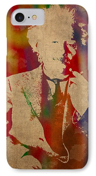 Portraits iPhone 8 Case - Albert Einstein Watercolor Portrait On Worn Parchment by Design Turnpike