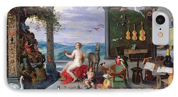 Trombone iPhone 8 Case - Allegory Of Music Oil On Canvas by Jan the Elder Brueghel