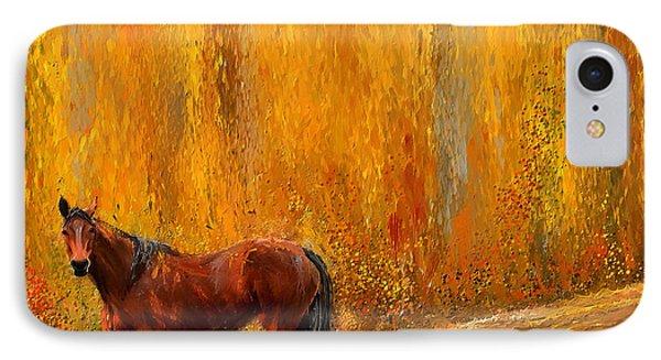 Alone In Grandeur- Bay Horse Paintings IPhone Case