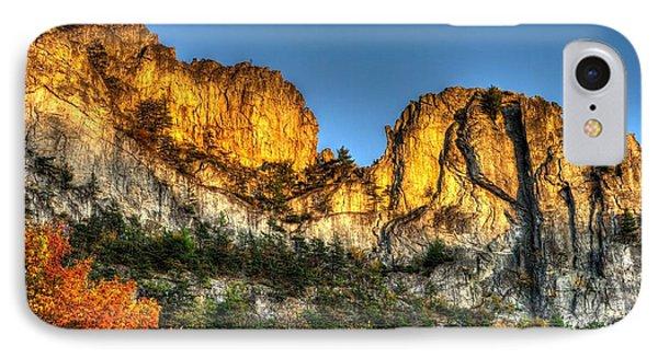 Alpenglow At Days End Seneca Rocks - Seneca Rocks National Recreation Area Wv Autumn Early Evening IPhone Case