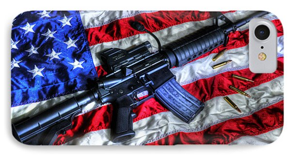 American Flag With Rifle IPhone Case